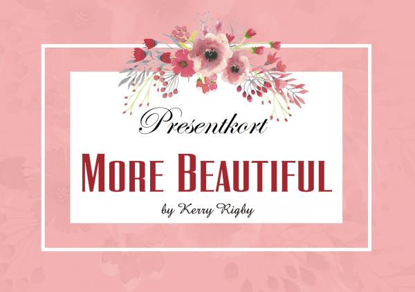 Ett rosa presentkort med More Beautifuls logotyp och texten presentkort.